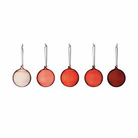 Christmas Red Glass Ball 8cm Set Of 5
