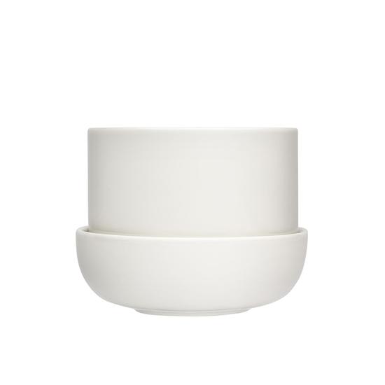 Nappula Plant Pot with Saucer White 17cmx13cm